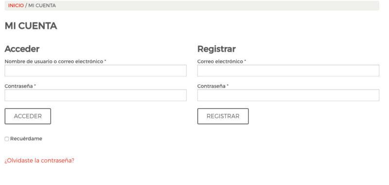 Formularios de Registro y Acceso de Clientes