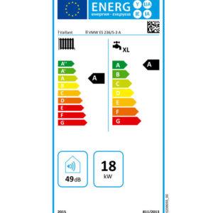 Tarjeta Clasificación Energética Caldera a Gas de Condensación Vaillant Modelo ecoTEC Pro 236 VMW ES 236 5/3