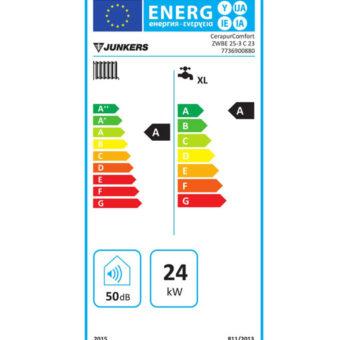 Tarjeta Clasificación Energética Caldera a Gas de Condensación Junkers Modelo Cerapur Comfort ZWBE 25/25 3 C