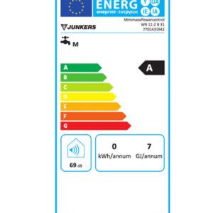 Tarjeta eficiencia energética Calentador de Agua a Gas 11 Litros Tiro Natural Atmosférico Junkers miniMAXX WR 11 2KB