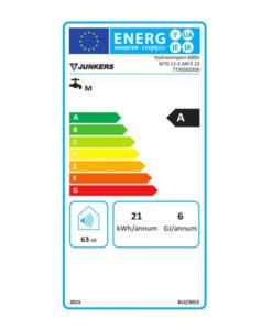 Tarjeta Eficiencia Energética Calentador a Gas 12 Litros Estanco Junkers HydroCOMPACT WTD 12 AME