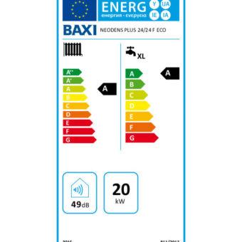 Tarjeta eficiencia energética Caldera a Gas de Condensación BaxiRoca Modelo Neodens Plus ECO 24/24 F