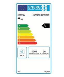 Tarjeta eficiencia energética Calentador a Gas 11 Litros Tiro Forzado Atmosférico Cointra Supreme 11 VI Plus