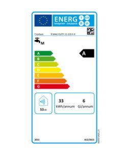Tarjeta Clasificación Energética Calentador de Agua a Gas 11 Litros Estanco Termostático Vaillant turboMAG Plus ES/PT 11-2/0-5