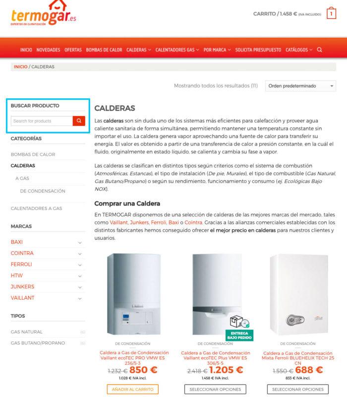Buscador de productos en catálogo