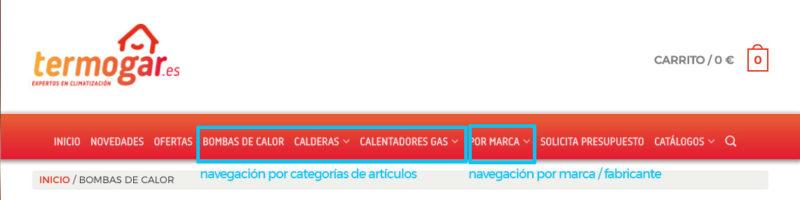 Menú principal de navegación: categorías, subcategorías y marcas