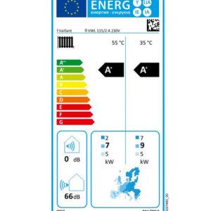 Tarjeta eficiencia energética Bomba de Calor Aire Agua Vaillant aroTHERM VWL 115/2