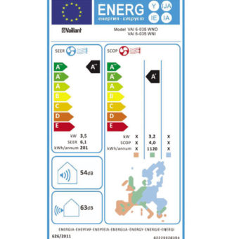 Tarjeta eficiencia energética Aire Acondicionado Split Vaillant VAI 6-025 WN