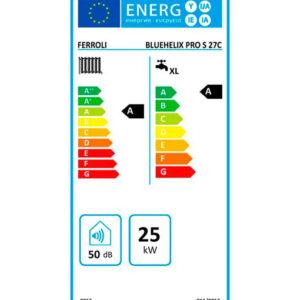 Tarjeta Eficiencia Energética Caldera a Gas de Condensación Ferroli Bluehelix Pro Slim 27 CN