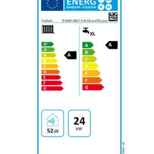 Tarjeta eficiencia energética Caldera a Gas de Condensación Vaillant ecoTEC PURE VMW 286/7-2