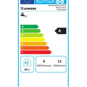 Tarjeta eficiencia energética Calentador de Agua Gas 14 Litros Tiro Natural Atmosférico Junkers miniMAXX WR 14 2B