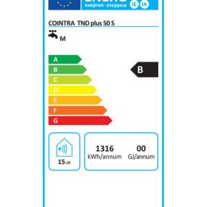 Etiqueta energética termo eléctrico digital TND PLUS 50S