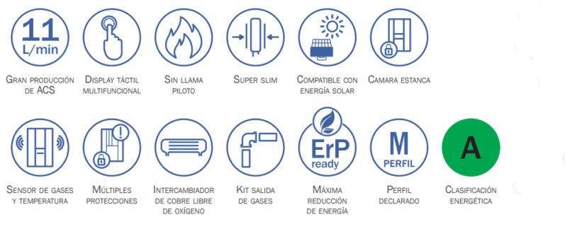 Funciones Calentador de Agua a Gas Estanco 11 Litros HTW CLE 11NOX
