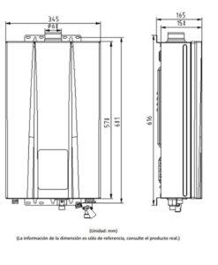 Medidas Calentador Estanco HTW CLE 11NOX
